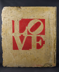 ROBERT INDIANA (American, b. 1928) WALL / LOVE (double-sided), 1991 Painted section of the Berlin Wa