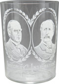 Political:Small Miscellaneous (1896-present), McKinley & Hobart: Jugate Clear Campaign Glass Tumbler....
