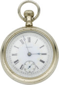 Timepieces:Pocket (pre 1900) , Elgin Fancy Dial Pocket Watch, Train Case, circa 1889. ...