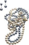 Estate Jewelry:Lots, Cream & Blue/Gray Cultured Pearl, Gold Jewelry Lot. ... (Total:4 Items)