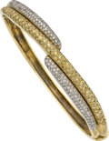 Estate Jewelry:Bracelets, Colored Diamond, Diamond, Gold Bracelet. ...