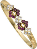 Estate Jewelry:Bracelets, Ruby, Diamond, Gold Bracelet. ...
