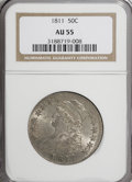 Bust Half Dollars: , 1811 50C Large 8 AU55 NGC. NGC Census: (59/283). PCGS Population(49/139). Mintage: 1,203,644. Numismedia Wsl. Price for NG...