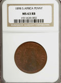 1898 Penny S.Africa MS63 Red and Brown NGC. NGC Census: (0/0). PCGS Population (0/0). (#661898)
