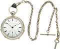 Timepieces:Pocket (pre 1900) , Elgin Early B. W. Raymond # 4010 with chain, circa 1867. ...