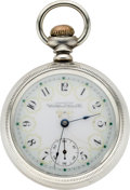 Timepieces:Pocket (post 1900), Waltham Sterling Pocket Watch with Fancy Dial, circa 1906. ...