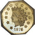 California Fractional Gold, 1876/5 $1 Indian Octagonal 1 Dollar, BG-1128, R.5, MS64 ProoflikeNGC....