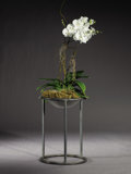 Furniture : American, WALTER LAMB BRONZE. A Bronze Plant Stand, manufactured by Brown Jordan, designed mid 1940s. 20-3/8 x 14-1/2 x 14-1/2 inches ...