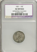 Bust Dimes, 1821 10C Large Date--Improperly Cleaned--AU50 NCS. AU50 Details. NGC Census: (9/148). PCGS Population (14/110). Mintage: 1,...