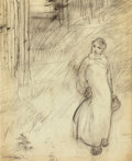 Fine Art - Work on Paper:Drawing, MIKHAIL ABDULLAYEV (Azerbaijani, 1921-2004). Woman in the Street, 1957. Graphite on paper. 11-1/2 x 9-1/2 inches (29.2 x...