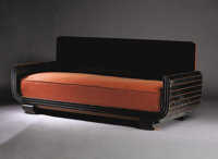 "PAUL T. FRANKL (American, 1887-1958) A Painted Wood and Upholstered ""Skyscraper"" Daybed, manufactured by Frank..."