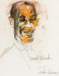 Fine Art - Work on Paper:Drawing, LEROY NEIMAN (American, b. 1926). Max Roach, 1957. Mixedmedia on paper. Inscribed lower right: Max Roach / 1957 /LeR...