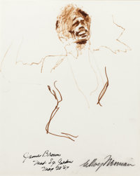 LEROY NEIMAN (American, b. 1926) James Brown, 1967 Mixed media on paper Signed lower right: Le