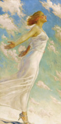Fine Art - Painting, American:Modern  (1900 1949)  , CHARLES LENNOX-WRIGHT (American, 1832-1932). Catching aDream. Oil on canvas. Signed lower left: C.Lennox-Wright. 4...