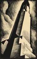 Fine Art - Work on Paper:Print, HOWARD NORTON COOK (American, 1901-1980). Chrysler Building, 1930. Wood engraving. Signed lower right: Howard Cook. ...