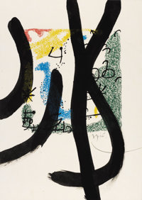 JOAN MIRÓ (Spanish, 1893-1983) Essences of the Earth, 1967 Drawing over lithograph Signed lower r