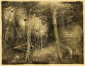 Fine Art - Work on Paper:Print, HARRY BERTOIA (American, 1915-1978). Untitled, 1950s. Monoprint on rice paper. Inscribed lower center: 6 x 8. Inscri...