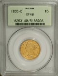 Liberty Half Eagles: , 1855-D $5 Large D XF40 PCGS. Variety 32-AA. An uncommonlyattractive XF survivor that bespeaks originality. The centersdis...