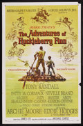 "Movie Posters:Adventure, The Adventures of Huckleberry Finn (MGM, 1960). One Sheet (27"" X41""). Adventure. Starring Tony Randall, Archie Moore, Eddie..."