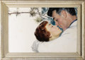 Illustration:Magazine, TOM LOVELL (American 1909 - 1997) . Rock Hudson and JaneWyman, from the film Magnificent Obsession, 1954 . Oilon b...