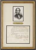"Autographs:U.S. Presidents, John Tyler Partly Printed Document Signed as governor of Virginia.One page, 7.5"" x 6"" (sight), Richmond, Virginia, March 24..."