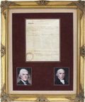 """Autographs:U.S. Presidents, Thomas Jefferson Document Signed """"Th. Jefferson"""" andcountersigned by Secretary of State James Madison. One page, 11..."""