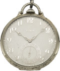 Timepieces:Pocket (post 1900), Elgin 21 Jewel Gold Watch with Chain & Platinum Penknife, circa 1928. ...