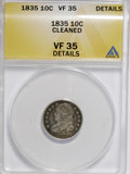 Bust Dimes: , 1835 10C --Cleaned--ANACS. VF35 Details. NGC Census: (8/391). PCGSPopulation (22/334). Mintage: 1,410,000. Numismedia Wsl. ...