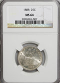 Seated Quarters, 1888 25C MS64 NGC....