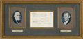 """Autographs:U.S. Presidents, President James Monroe and Secretary of State John Quincy Adams Document Signed. One page, partially printed, 7.75"""" x 5.5"""", ..."""