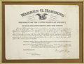 "Autographs:U.S. Presidents, Warren G. Harding Document Signed. One page, 17.5"" x 13"", February2, 1923, Washington, D.C., partially printed. The documen..."