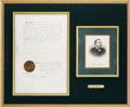 "Autographs:U.S. Presidents, Grover Cleveland Document Signed as governor of New York. One page,10.5"" x 16"", July 20, 1883, Albany. Framed with Clevela..."