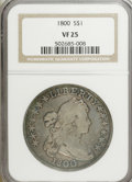 Early Dollars: , 1800 $1 VF25 NGC. NGC Census: (45/612). PCGS Population (95/585).Mintage: 220,920. Numismedia Wsl. Price for NGC/PCGS coin...