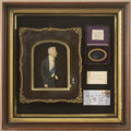 "Autographs:Military Figures, Arthur Wellesley, 1st Duke of Wellington: Hair and Color Wax Portrait. The portrait is in a glazed frame, 10½"" x 13"", with a..."