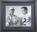 Football Collectibles:Others, Tom Landry and Roger Staubach Dual-Signed Oversized Photograph....