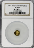 California Fractional Gold, 1871 25C Liberty Round 25 Cents, BG-813, R.3, MS66 ProoflikeNGC....
