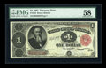 Fr. 352 $1 1891 Treasury Note PMG Choice About Unc 58