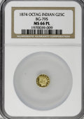 California Fractional Gold, 1874 25C Indian Octagonal 25 Cents, BG-795, R.3, MS66 ProoflikeNGC....