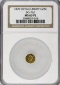 California Fractional Gold, 1870 25C Liberty Octagonal 25 Cents, BG-762, Low R.4, MS63Prooflike NGC....