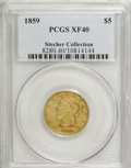 Liberty Half Eagles: , 1859 $5 XF40 PCGS. Ex: Stecher Collection. PCGS Population (8/24).NGC Census: (8/73). Mintage: 16,700. Numismedia Wsl. Pri...