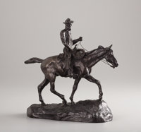 CHARLES MARION RUSSELL (American, 1864-1926) Will Rogers, posthumous cast circa 1950s Bronze with pa
