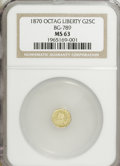 California Fractional Gold: , 1870 25C Goofy Head Octagonal 25 Cents, BG-789, R.4, MS63 NGC. PCGSPopulation (17/11). (#10616)...
