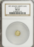 California Fractional Gold: , 1871 25C Liberty Round 25 Cents, BG-813, R.3, MS63 NGC. PCGSPopulation (41/49). (#10674)...