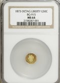 California Fractional Gold: , 1873 50C Liberty Octagonal 50 Cents, BG-915, Low R.4, MS64 NGC. NGCCensus: (3/7). PCGS Population (34/27). (#10773)...