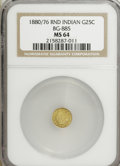 California Fractional Gold: , 1880/76 25C Indian Round 25 Cents, BG-885, R.3, MS64 NGC. PCGSPopulation (61/19). (#10746)...
