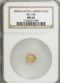 California Fractional Gold: , 1855/4 25C Liberty Octagonal 25 Cents, BG-106, R.3, MS62 NGC. NGCCensus: (3/17). PCGS Population (31/89). (#10375)...