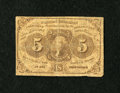 Fractional Currency:First Issue, Fr. 1230 5c First Issue Inverted Back Very Good....