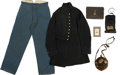 Military & Patriotic:Civil War, Superb Enlisted Man's Grouping Containing Housewife, Canteen, Writing Kit, Photographs, Regulation Kersey Trousers, and an Exc... (Total: 9 Items)