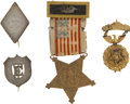 Military & Patriotic:Civil War, Rare Grouping of Excelsior Brigade Soldier's Image and Two Identification Badges. ... (Total: 5 Items)