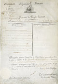 "Autographs:Non-American, Napoleon Bonaparte Partly Printed Document Signed as First Consulof France. One page, on vellum in French, 9.25"" x 13"", Par..."